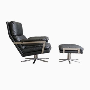 Vintage Black Leather Lounge Chair and Ottoman Set by Arne Norell for Vatne Lenestolfabrikk, 1960s