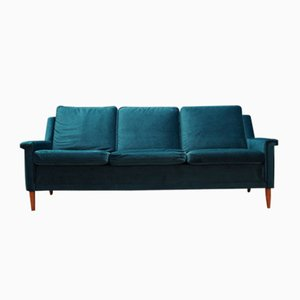 Vintage Danish Green Velour Sofa, 1960s