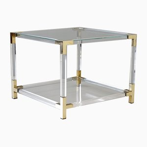 Vintage Lucite & Brass Coffee Table by Charles Hollis Jones