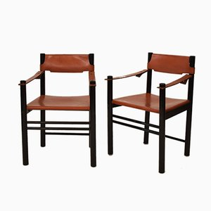Italian Wood & Leather Armchairs from Ibisco Sedi, 1971, Set of 2