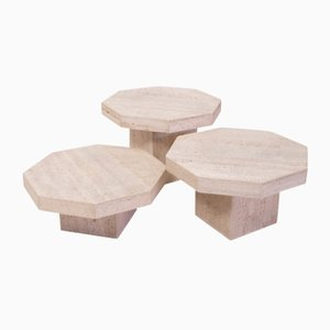 Octagonal Travertine Nesting Tables, 1980s