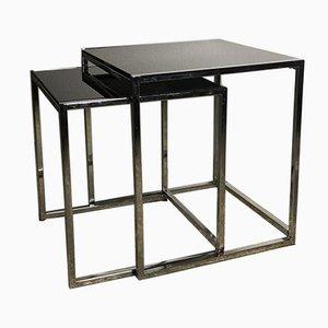 Beistelltische aus Aluminium, Chrom & Glas, 1980er, 2er Set
