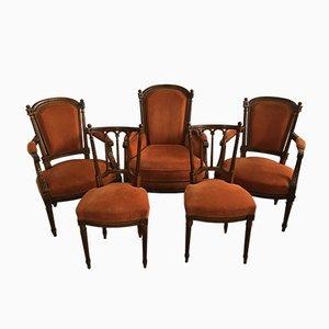 Antike Louis XVI Esszimmerstühle, 5er Set