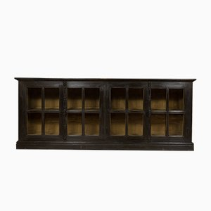 Vintage Glazed Ebonised Oak Cabinet