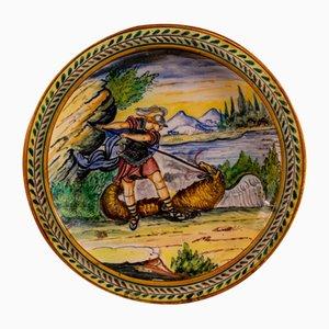 Antique Ceramic Plate by Manifattura Castelli for Castelli, 1700s