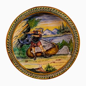 Italienischer Polychromer Keramik Teller, 18. Jh. Von Manifattura Castelli