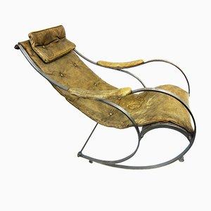 Antiker Schaukelstuhl aus Leder & Metall von Peter Cooper für R. W Winfield