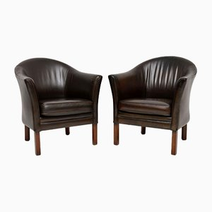 Vintage Dnish Leather Armchairs from Mogens Hansen, 1960s, Set of 2