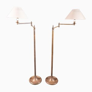 French Brass Floor Lamps, 1920s, Set of 2