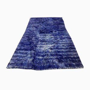 Türkischer Blauer Vintage Woll-Shabby Teppich, 1940er