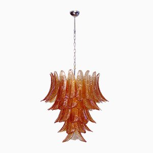 Large Italian Amber Felci Glass Chandelier, 1988