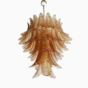 Lámpara de araña Felci italiana grande de vidrio ámbar, 1988