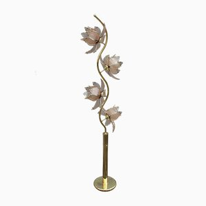 Italian Glided Metal Lotus Flower Floor Lamp, 1970s