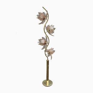 Lámpara de pie italiana con flores de loto de metal, años 70