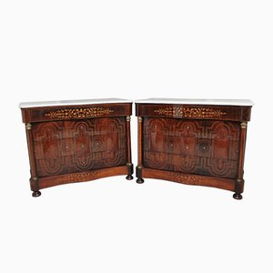 Spanish Rosewood & Marble Commodes, Set of 2