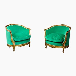 Antique Louis XV Gilded & Carved Wood Armchairs, Set of 2