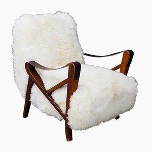 Mid-Century Fur & Walnut Armchair by Maurizio Tempestini
