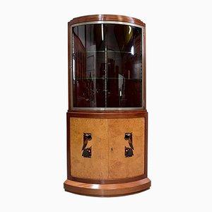 Vintage Art Deco Rosewood, Mahogany & Sycamore Corner Cabinet