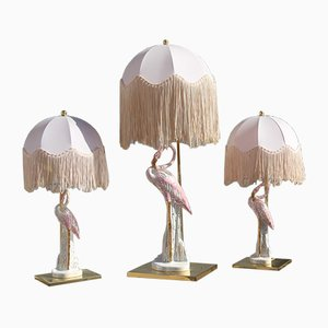 Italian Flamingo Table Lamps, 1970s, Set of 3