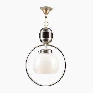 Italienische Opalglas & Chrom Metall Deckenlampe, 1980er