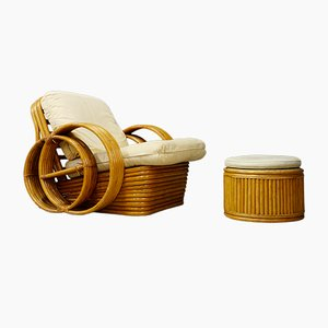 Mid-Century Rattan Armhair & Ottoman, Set of 2