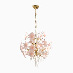 Brass & Murano Glass Flower Ceiling Lamp by Franco Luce, 1970s