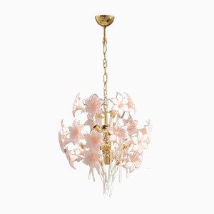 Florale Deckenlampe aus Messing & Muranoglas von Franco Luce, 1970er