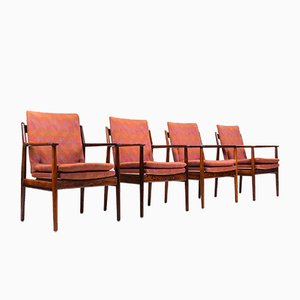 Mid-Century Rosewood Model 341 Armchairs by Arne Vodder for Sibast, Set of 4