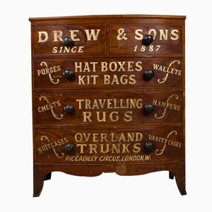 Antique Victorian Bow Fronted Drawers with Hand Lettering