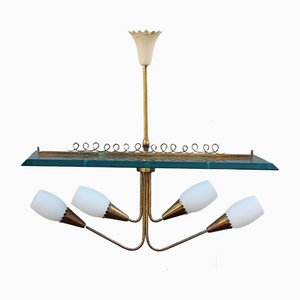 Brass & Crystal Ceiling Lamp by Pietro Chiesa for Fontana Arte, 1940s