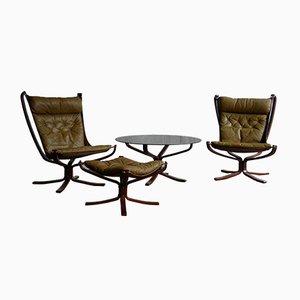 Vintage Leder Falcon Chair, Hocker und Couchtisch Set von Sigurd Ressell für Vatne Møbler, 1970er