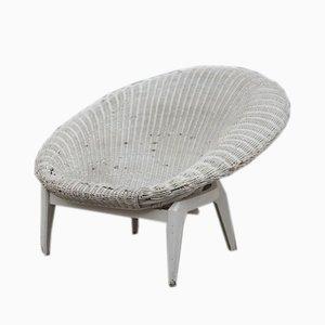 Italienischer Sessel aus Rattan & Lack, 1950er
