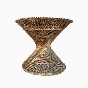 Spanish Bamboo & Glass Coffee Table, 1950s