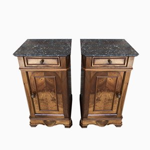 Antique Biedermeier Marble Nightstands, Set of 2