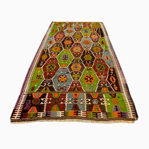 Large Mid-Century Turkish Woolen Kilim Rug