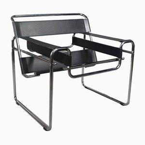 Vintage Black Leather and Chrome Armchair, 1990s