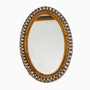 Italian Oval Bamboo Wall Mirror, 1960s