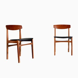 Mid-Century Teak and Leatherette Dining Chairs, 1960s, Set of 2