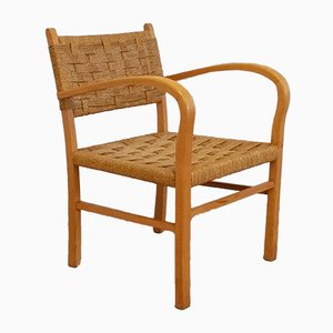 Mid-Century Wood and Rope Lounge Chair, 1950s