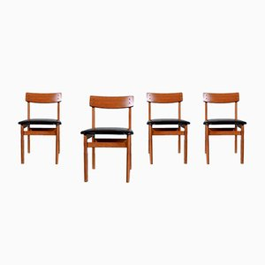 Vintage Teak and Leatherette Dining Chairs, 1960s, Set of 4