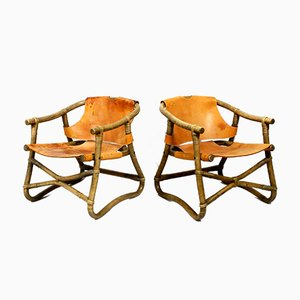 Bamboo and Brown Leather Safari Lounge Chairs, 1960s, Set of 2