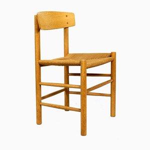 Dänische Modell J39 Esszimmerstühle aus Eiche & Cord von Børge Mogensen für Fredericia, 1960er, 4er Set