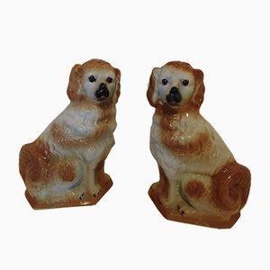 Englische Steingut Hunde Figuren, 19. Jh., 2er Set