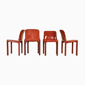 Vintage Dining Chairs by Vico Magistretti for Artemide, 1960s, Set of 4