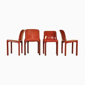 Vintage Esszimmerstühle von Vico Magistretti für Artemide, 1960er, 4er Set