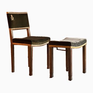 George IV Coronation Chair and Stool Set from W Hands & Sons, 1930s