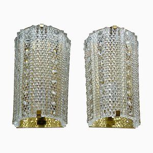 Large Crystal Glass Medea Sconces by Carl Fagerlund for Orrefors, 1960s, Set of 2