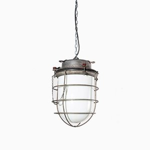 Vintage Industrial Opaline Glass Ships Ceiling Lamp, 1960s