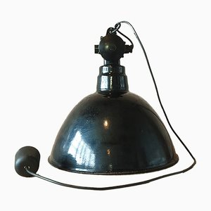 Large Industrial Factory Ceiling Lamp by Leuchtenbau WIttenberg, 1950s