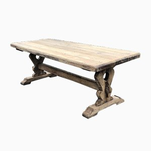Rustic French Solid Oak Farmhouse Dining Table